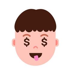 Boy head emoji personage icon with facial emotions vector