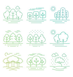 bright nature forest landscape thin line icons vector image