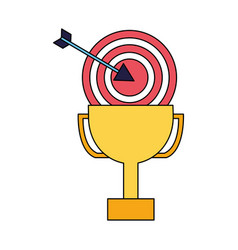 business trophy and target arrow vector image
