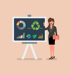 business woman give presentation analysis vector image