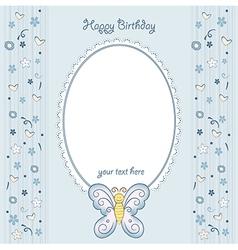 Butterfly birthday card vector