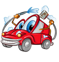 car wash character cartoon over background white vector image