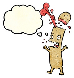 cartoon undercooked sausage with thought bubble vector image