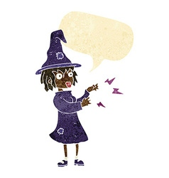 cartoon witch casting spell with speech bubble vector image