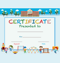 Certification template with kids at playground vector