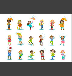 children enjoying the rain vector image