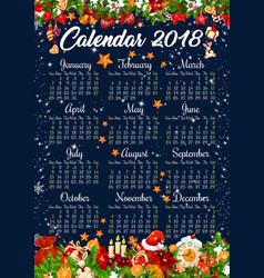 christmas 2018 calendar holiday decorations vector image