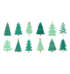 christmas trees merry xmas decorated tree vector image