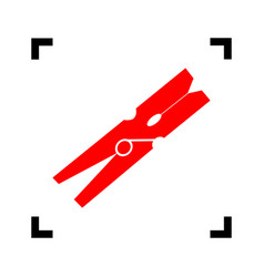 clothes peg sign red icon inside black vector image