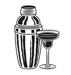 Cocktail shaker and margarita glass objects vector