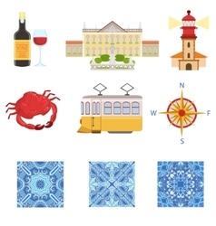 Collection Of Portuguese National Symbols Objects vector image