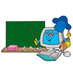 Computer teacher with blackboard vector