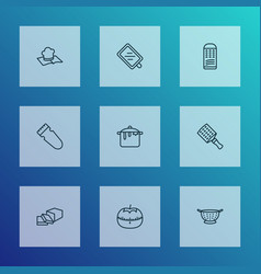 Cooking icons line style set with butter tomato vector