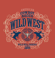 country wild west rodeo bull rider vector image