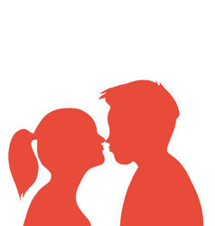 Couple kissing pair lovers vector