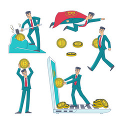Cryptocurrency and bitcoin mining and earning set vector