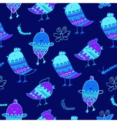 cute colorful floral seamless pattern with owl vector image