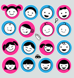 Cute kids icons set vector