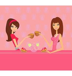 cute pretty two girls in coffee break vector image vector image