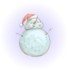 cute snowman in santa hat smiling vector image