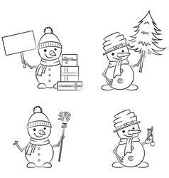 cute snowmen doodle collection vector image