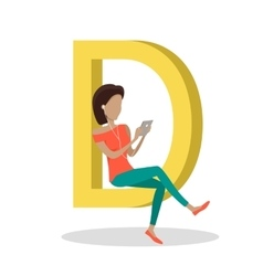 D Letter and Girl Watching Movie on Tablet vector