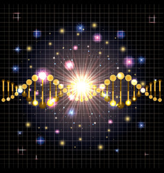 dna molecule on line golden pattern vector image