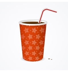 Drinking straw and red cup vector