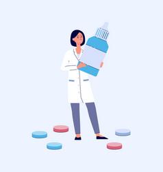 Female doctor in lab coat holding giant bottle of vector