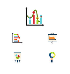 flat icon chart set of easel diagram chart and vector image