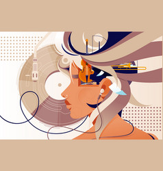 flat mind vision with music instrument and modern vector image