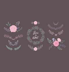 floral set with bouquet with rose peony vector image