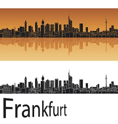 Frankfurt skyline in orange background vector image