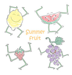 funny dancing fruit doodle lemon watermelon vector image