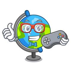 gamer globe mascot cartoon style vector image