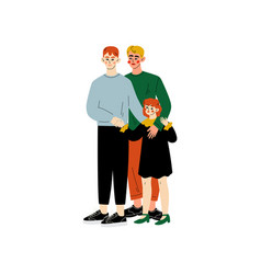 Gay family two men and their daughter standing vector