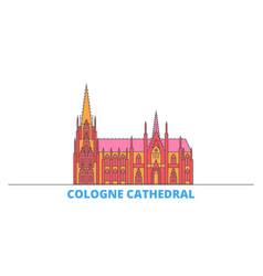 Germany cologne cathedral line cityscape flat vector