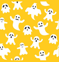 Ghost halloween seamless pattern flat design with vector