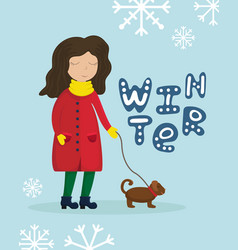 girl in a winter coat walking with a dog vector image