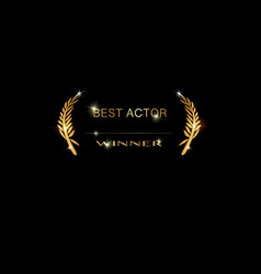 gold best actor awards nomination concept vector image
