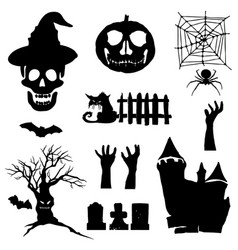 halloween icons set of silhouettes for halloween vector image