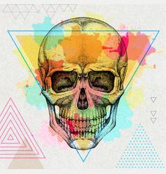 Hand drawing hipster skull vector
