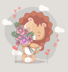hand drawn happy cute lion with flowers for kids vector image