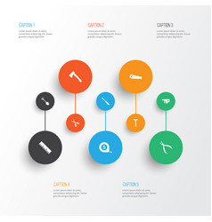 Handtools icons set collection of digging meter vector