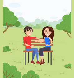 happy couple on date in park sitting on bench vector image