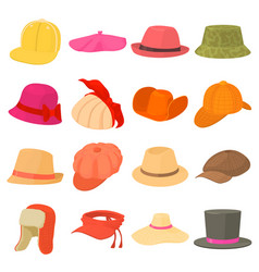Hat types icons set headdress cartoon style vector