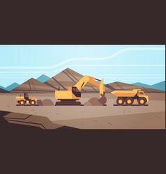Heavy excavator loading soil on dump truck vector