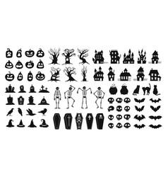 Horror silhouettes scary halloween decor skulls vector