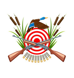 hunt on wild duck emblem vector image