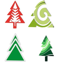 Icons four Christmas trees vector image